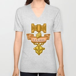 Cleric Hammer, d8 and Lantern Coat of Arms Unisex V-Neck