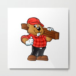 Beaver holding a plank of wood Metal Print