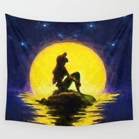 little mermaid Wall Tapestries featuring Little Mermaid by DisPrints