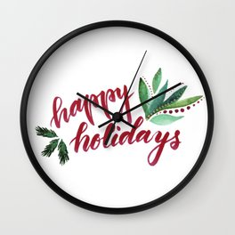 Happy Holidays - red and green Wall Clock
