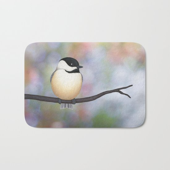 black capped chickadee on a branch Bath Mat