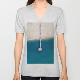 Minimalist Blue Turquoise Waters Meet White Sandy Beach Unisex V-Neck