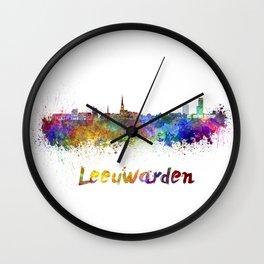 Leeuwarden skyline in watercolor Wall Clock