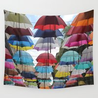 umbrella Wall Tapestries featuring Umbrella by Mamzellemo