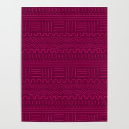 Mud Cloth in Raspberry Poster