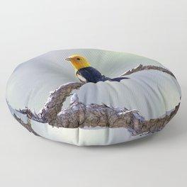 Watercolor Bird, Western Tanager 03, Estes Park, Colorado, Slice of Sunshine Floor Pillow