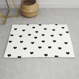 Cute black and white hearts Rug