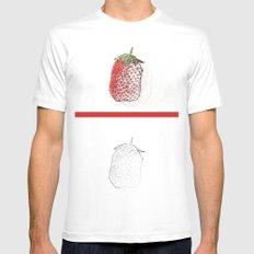 Strawberry MEDIUM White Mens Fitted Tee
