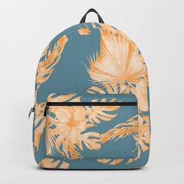Hawaiian Hibiscus Palm Orange Teal Blue Backpack