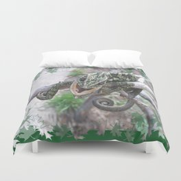 Colourful Chameleon Wrapped Around A Branch Duvet Cover