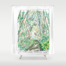 Bamboo Cathedral Sketch - San Marino CA Shower Curtain