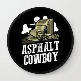 Asphalt Cowboy   Trucker Wall Clock