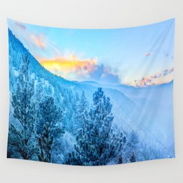 Snow Mountains Sunrise Wall Tapestry