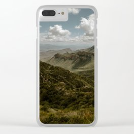 Cloudy Vibrant Mountaintop View in Big Bend - Lost Mine Trail Clear iPhone Case