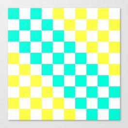 Cheerful Aqua & Yellow Checkerboard Pattern Canvas Print