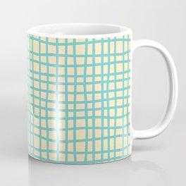 coconut cream aqua ocean thread random cross hatch lines checker pattern Coffee Mug