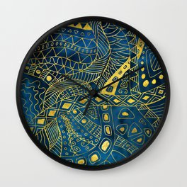 Tribal  Watercolor and Gold Pattern on blue Wall Clock