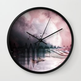 Boat, ducks under a dramatic cloudy sky Wall Clock