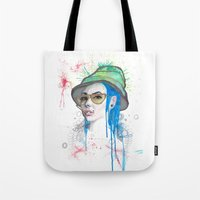fear and loathing Tote Bags featuring Fear and Loathing by Becca Douglas