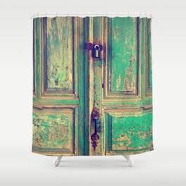 old wood vintage door Shower Curtain
