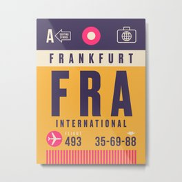 Retro Airline Luggage Tag - FRA Frankfurt Metal Print
