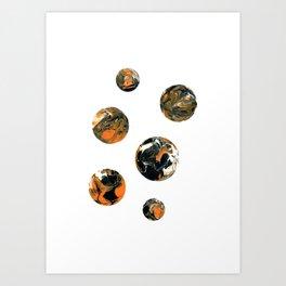 Halloween Galaxy in Orange and Black Art Print