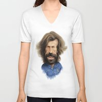 pirlo V-neck T-shirts featuring Andrea Pirlo - Italy by Sant Toscanni
