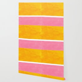 Pastel Yellow Pink Rothko Minimalist Mid Century Abstract Color Field Squares Wallpaper