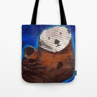 otter Tote Bags featuring Otter by Cre8tive Papier