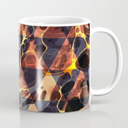 Geometric Abstract Painting - Marbling Art 09- Fluid Painting - Brown, Black, Gold Abstract Coffee Mug