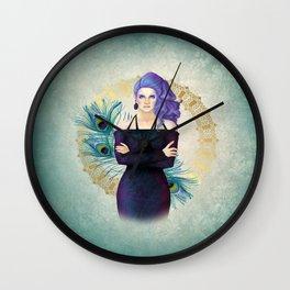 Purple Peacock Pinup Wall Clock