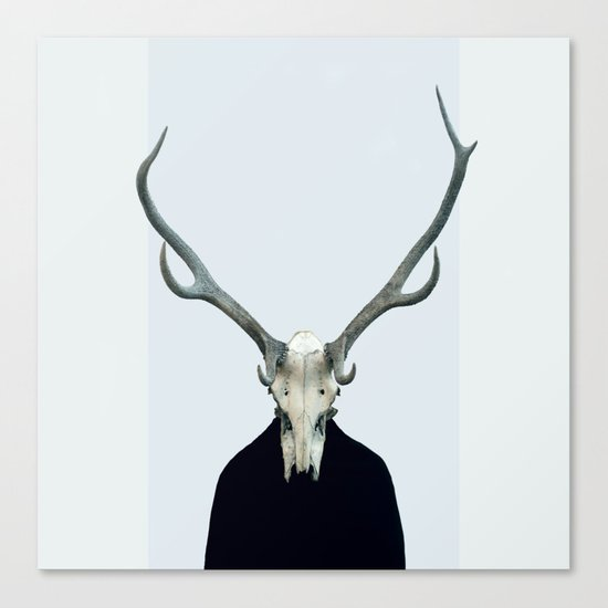 Living Skull and Horns Canvas Print