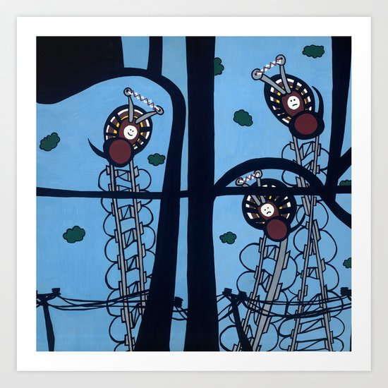 KNITTING SPIDERS on a POWER TRIP Art Print