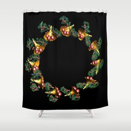 Fractal Christmas Wreath Shower Curtain