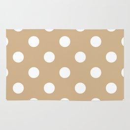 Polka Dots - White on Tan Brown Rug