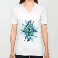 cracked V-neck T-shirts featuring Cracked Icicles by AJJ ▲ Angela Jane Johnston