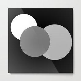 Black Gray White : Mod Circles Metal Print