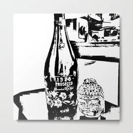Sketched Buddha & Bottle White on Black Metal Print