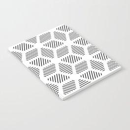 Geometric Line Lines Diamond Shape Tribal Ethnic Pattern Simple Simplistic Minimal Black and White Notebook