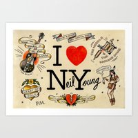 neil young Art Prints featuring I Heart NY (Neil Young) by Phillip Marsden