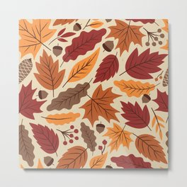 Vintage autumn leaves illustration seamless pattern Metal Print