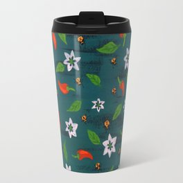 Red Chilli Plant Pattern Travel Mug