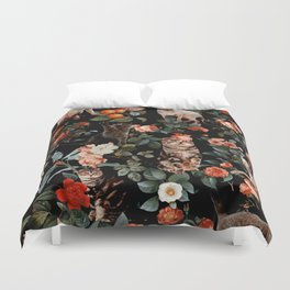 Cat and Floral Pattern II Duvet Cover