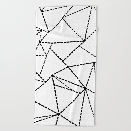 Abstract Dotted Lines Black and White Beach Towel