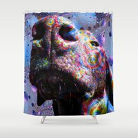 lab Shower Curtains featuring Chocolate Lab Nose by Roger Wedegis