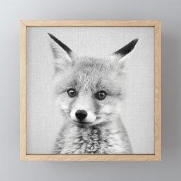 Baby Fox - Black & White Framed Mini Art Print