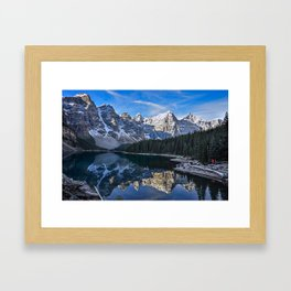 Reflections in the morning at lake Moraine Framed Art Print