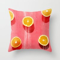 fruit Throw Pillows featuring fruit 5 by LEEMO