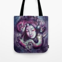 korea Tote Bags featuring South Korea by Holly Carton