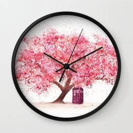 Tardis Tree Art Blossom Wall Clock